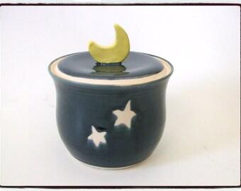 Deep Blue Jar with Yellow Moon Knob and Star Decoraion by misunrie