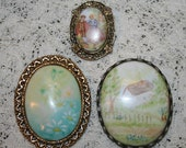 Lot of Three Vintage Handpainted Porcelain Brooches / Pins from Estate
