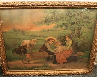 Antique FARMER FAMILY & COWS Pastoral Print in Period Gilt Frame