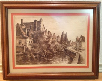 European Village on River Etching / Print By Listed Artist EMILE GALLOIS