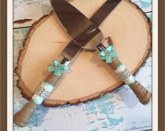 AQUA blue / Wedding cake knife set / burlap knife set / cake cutting set / rustic wedding / vintage lace wedding