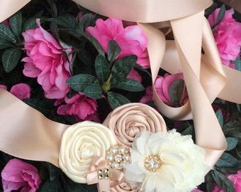 Bridal Sash , wedding sash , maternity sash ((champagne and ivory )))) wedding , sash , bride , flower girl