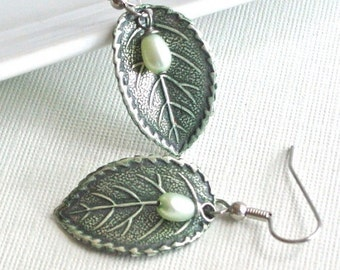Silver Leaf Earrings - Jewelry, Patina,  Pearl