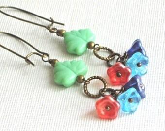 Colorful Flower Earrings - Czech Glass Earrings, Maple Leaf, Multicolored Earrings, Floral Jewelry, Leaf Jewelry