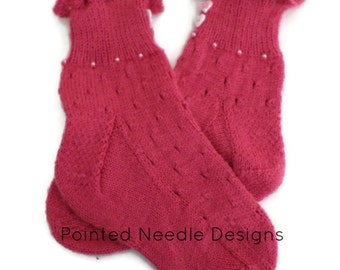 Socks - Hand Knit Women's Pink Ruffle Cuff Socks with Beads and Buttons - Size 5-7 - Valentines Day