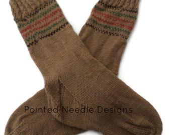 Socks - Hand Knit Women's Buckskin Socks with Checkerboard Trim - Size 7-9