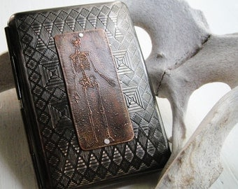 Skeleton Steampunk Etched Wallet / Cigarette Case in Tribal Pattern - Acid Bath Series