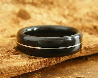 Bentwood Ring Ebony with Sterling Silver Inlay