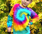 Tie Dye T SHIRT, Youth, hippie, long sleeve, heavy cotton, hand dyed, rainbow