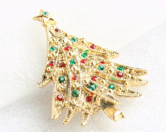Christmas Tree Brooch Vintage Green Red Rhinestones Goldtone Xmas Tree Figural Pin