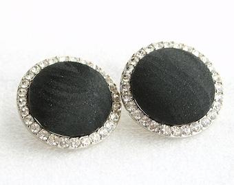 Big Black Silk Button Earrings Pierced Vintage Rhinestone Ringed Round Black Silk Center
