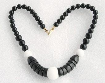Black White Modernist Necklace Vintage Duplaise Beaded Disc Choker Collar