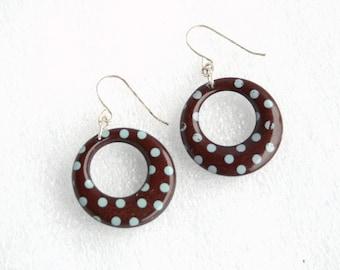 Brown Polka Dot Hoop Earrings Vintage 1970s Hoop Dangle Earrings