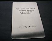 Personalized Metal Wallet Card - Nickel - Custom Text- Keepsake