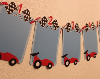 Race Car 12 or 13 Month Birthday Banner