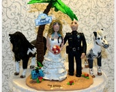 Tropical Island Bride & Groom with horse, Personalized Wedding Cake Topper, Custom