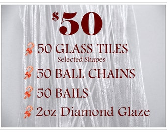 BEST DEAL..50pk...50 Glass tiles, 50 Bails, 50 Chains, and 2oz Diamond Glaze