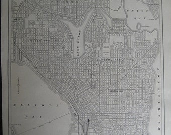 100 Year old City map of Seattle, Washington. FREE U.S. Shipping