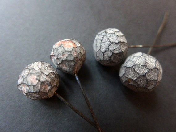 Stone Path. 4 polymer clay head pins with striated, faceted texture. 9-11mm.