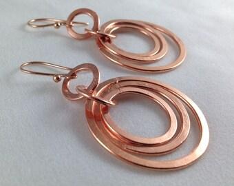 Copper Triple Hoop Handmade Earrings