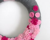Pink and Grey Floral Wreath, Yarn and Felt Wreath, 14-inch size - Ready to Ship