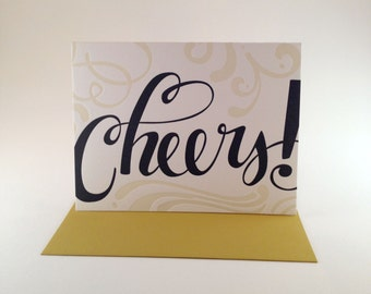 Cheers Hand Lettered Letterpress Card
