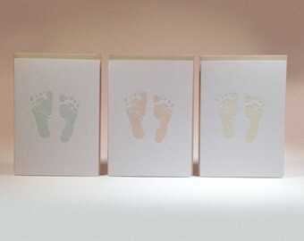 Baby Footprint Letterpress Card Set Six Pack