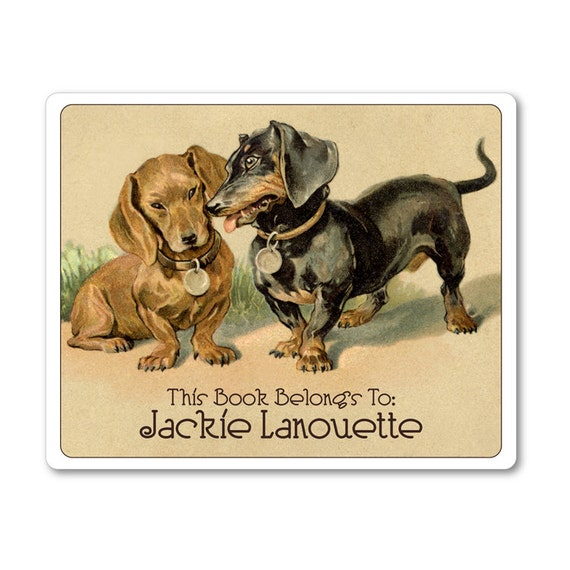 Vintage Dachshunds in Love Personalized Ex Libris Bookplates - CHRISTMAS GIFT