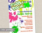 Graffiti Birthday Invitations - Neon Party Invitation - Retro 80s 90s invites (Printable Digital File OR Printed Cards)