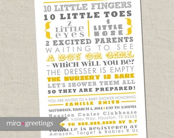 Gray and Yellow Baby Shower Invitation - Gender Reveal - 10 little fingers, gender neutral grey invite subway poem (Printable Digital File)