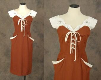 vintage 50s Lilli Diamond Dress - Brown and White Studded Linen Dress - 1950s Corset Wiggle Dress Sz S