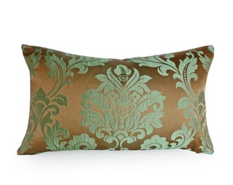 Long Decorative Pillows, Copper Green Damask Pillows, 14x20, 14x24, 16x26 Rectangle Pillow Cover, Oblong  Couch Cushion Cover