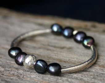 Pearl Sterling Bangle Bracelet, Karen Hill Tribe Silver, Fresh Water Pearl June Birthstone, Dark Purple Plum Grey Gray Pearls