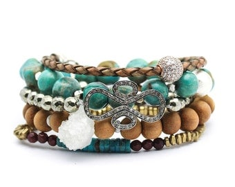 Boho Bracelet Set / As Seen In CONDE NAST Traveller / Diamond, Turquoise, Druzy, CZ Pave, Sandalwood, Pyrite, Bohemian Stacking Bracelet Set