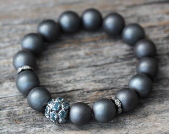 Blue Topaz Diamond Hematite Bracelet, Sterling Silver Pave Beadwork Dark Storm Cloud Grey Bright Sky Rain Blue Faceted December Birthstone