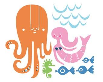 """SALE! 15% OFF 12X12"""" octopus garden giclee art print on fine art paper. pink, blue, green, brunette."""