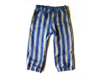 stripe city pant - modern baby trousers - ultra soft linen summer pants - boys or girls