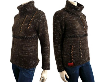 KENZO French Designer Vintage Brown Knit Blouse / Sweater