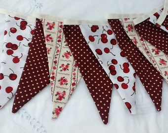 Cherry bunting, cherry fabric banner, cherry garland, 11 flags, house decoration, party, afternoon tea garland