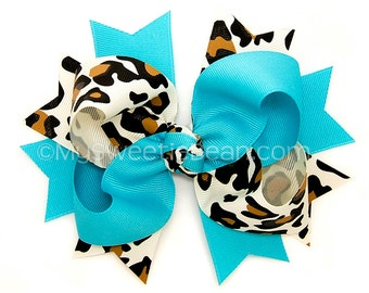 Leopard and Turquoise Hair Bow MTM Gymboree Glamorous Friends MTMG Bicolor Boutique Bow with Spikes Bi-color Hair Bow Two Tone Hair Bow