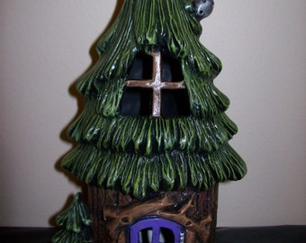 Hand Painted Ceramic Sugar Pine Townhouse Garden Fairy House