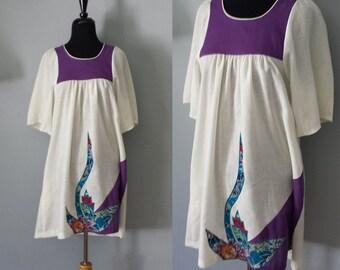 60s - Purple Boho Mini Dress by Liberty House - S