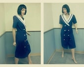1980s Sailor Dress with Striped Collar Size 10/12