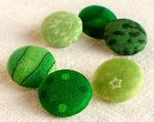 Fabric Buttons - Everything's Going Green + Am I Blue - 6 + 6 Small Fabric Covered Buttons - Reserved Listing of a Custom Order for Peggy