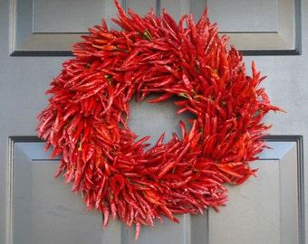Organic Red Chili Pepper Wreath, Kitchen Wreath Centerpiece, Wall Decor, Housewarming Gift, Herb Wreath, Southwest Decor, 16 inch Shown