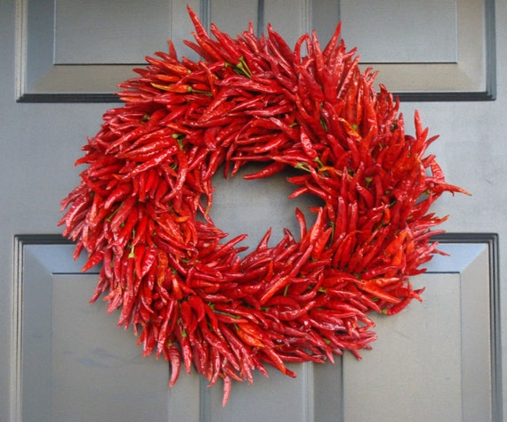 Kitchen Curtains chili pepper kitchen curtains : Organic Red Chili Pepper Wreath Kitchen Centerpiece Wall