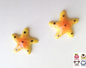 Miniature Ceramic Starfish, yellow, orange, mini, small, tiny, little, miniature, ceramic animal, tiny animal, decoration, mini animal