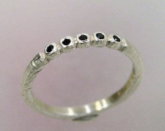 Black Diamond Ring, Rustic Wedding Band, Unique Ring, Silver Stacking Ring, Delicate Silver Ring, Made to order