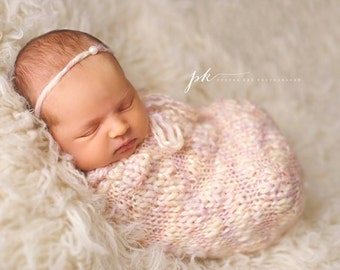 Newborn Knit Swaddle Sack and Tie Back Made to Order