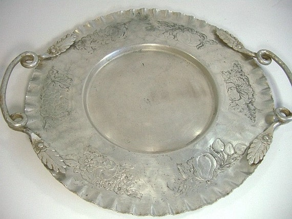 Vintage Hammered Aluminum Tray Round With Handles Fruit And
